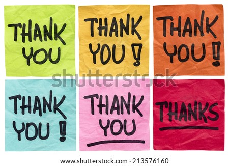 thank you and thanks -  a set of isolated crumpled sticky notes in different colors - stock photo