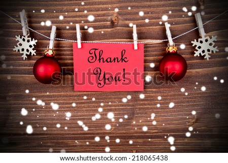 Thank You Background in Winter or Christmas Style, with Snowflakes and Christmas Decoration - stock photo