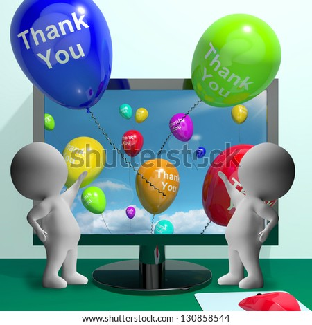 Thank You Balloons From Computer As Online Thanks Messages - stock photo