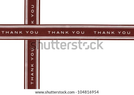 Thank you brown ribbon isolated on white background - stock photo