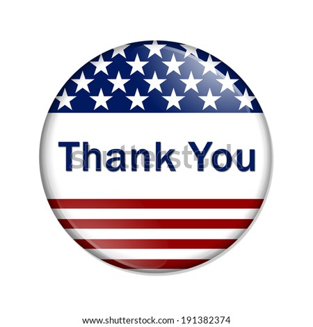 Thank You Button , A white button red stripes and stars with words Thank You isolated on a white background - stock photo