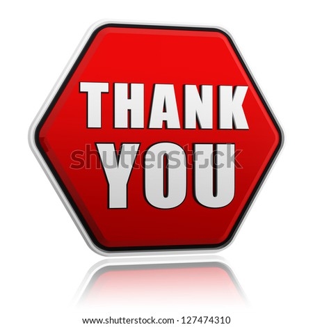 thank you button - 3d red hexagon banner with white text, business concept - stock photo
