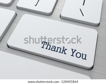 Thank You Button on Modern Computer Keyboard with Word Partners on It. - stock photo