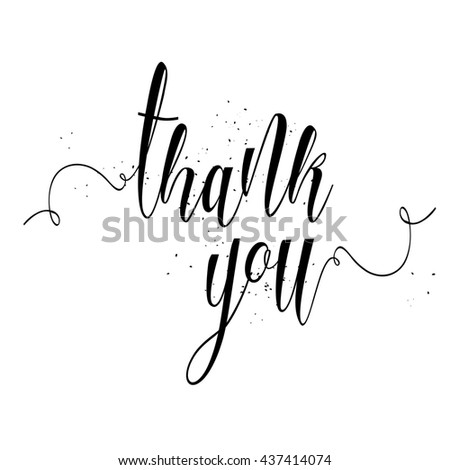 Thank You calligraphy sign. Brush painted letters, expression of gratitude illustration. - stock photo