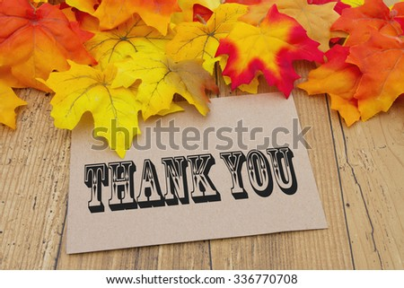 Thank You Card, Autumn Leaves with a beige greeting card with text Thank You