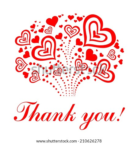 Thank you card.  illustration.  - stock photo