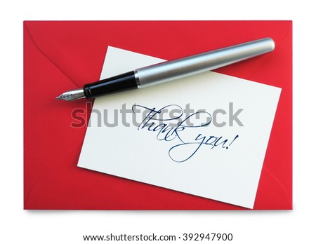Thank you card, isolated on White           - stock photo