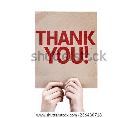 Thank You card isolated on white background - stock photo