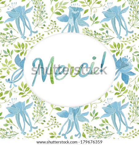 Thank You Card Template Floral Pattern Stock Illustration 179676359 ...