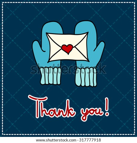 thank you card with mittens and a letter on a dark background - stock photo