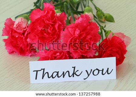 Thank you card with pink carnation flowers  - stock photo