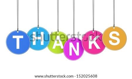 Thank you concept with thanks word on colorful hanged tags on white background. - stock photo