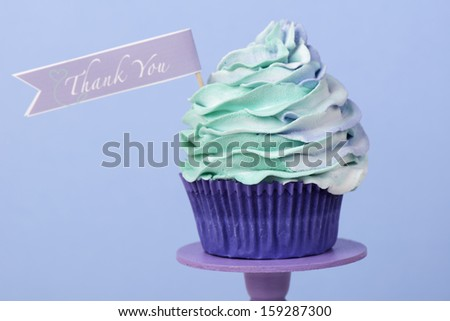 Thank you cupcake for Thanksgiving - stock photo
