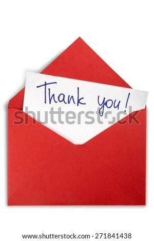 Thank You, Envelope, Letter. - stock photo