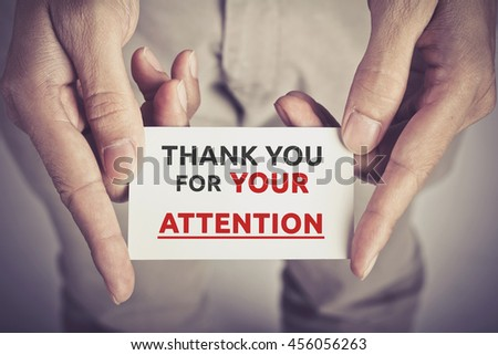 Thank You Your Attention Card Hold Stock Photo (Royalty Free ...