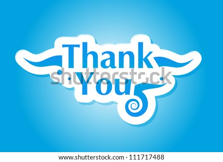 Thank you graphic isolated on blue. Vector illustration. - stock photo