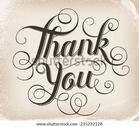 Thank you. Hand lettering - stock photo
