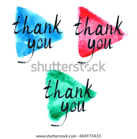Thank you, hand lettering. Abstract watercolor background