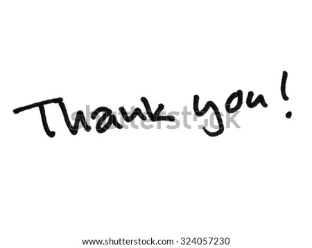 Thank you handwritten with black marker isolated on white background
