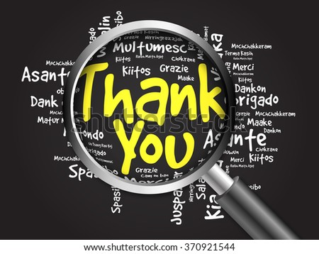 Thank You in all languages Word Cloud with magnifying glass, background concept - stock photo