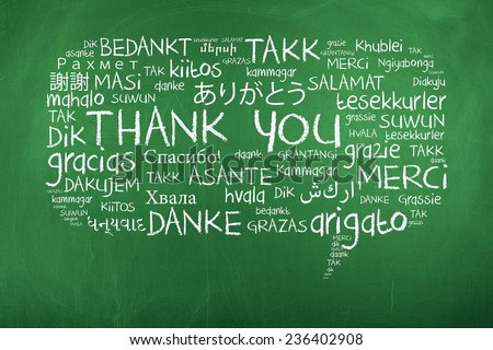 Thank You in Different Languages / Thank You Word Cloud as Speech Bubble - stock photo