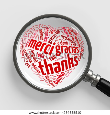 Thank you in many languages in heart shape under magnifying glass (3D Rendering) - stock photo