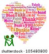 Thank you in multiple languages composed in the shape of love/heart - stock vector