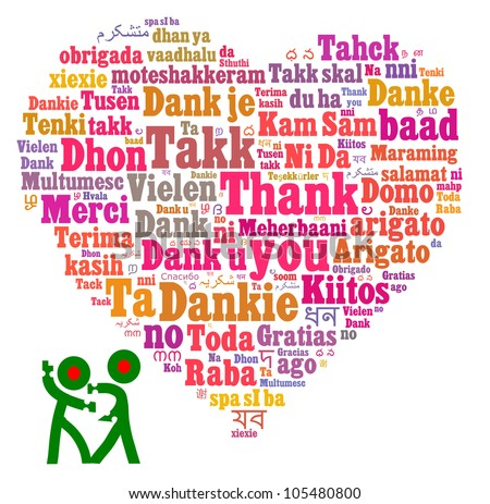 Thank you in multiple languages composed in the shape of love/heart