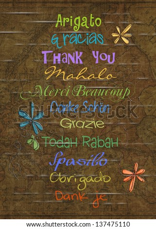 thank you in various foreign languages on an old map background - stock photo
