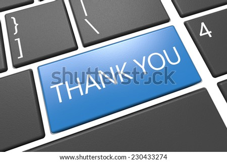 Thank you - keyboard 3d render illustration with word on blue key
