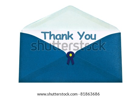 Thank you letter in blue envelope - stock photo
