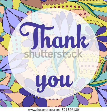 Thank you lettering onfloral background