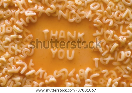 thank you made of food letters in ketchup soup - stock photo