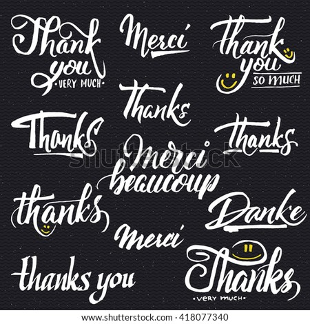 Thank you, merci beaucoup, danke- typographic calligraphic lettering - stock photo