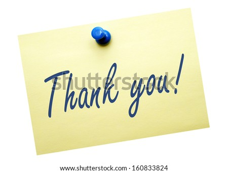 Thank you ! Message on white background - stock photo