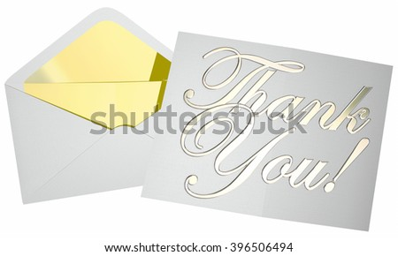 Thank You Note Message Letter Envelope Opening 3d Words - stock photo