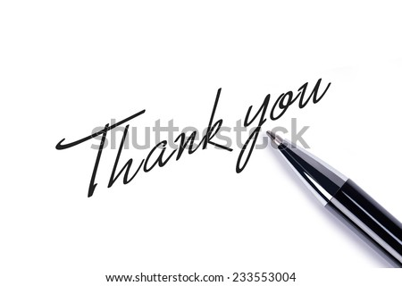 Thank you note on white background - stock photo