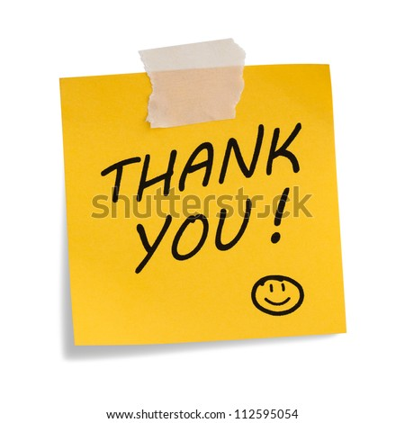 Thank you note with smiley face , isolated on white - stock photo