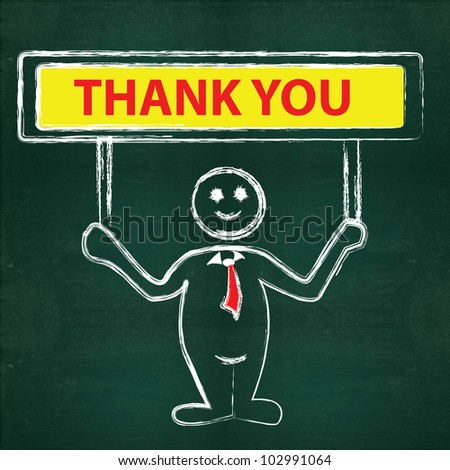 Thank you on blackboard background - stock photo