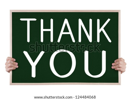 thank you on blackboard with hands - stock photo