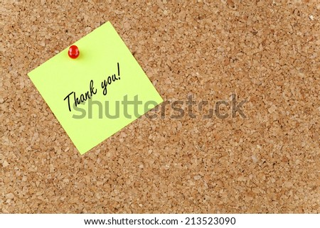 Thank you! on Paper Note - stock photo