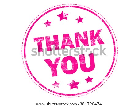 Thank you on pink grunge rubber stamp - stock photo