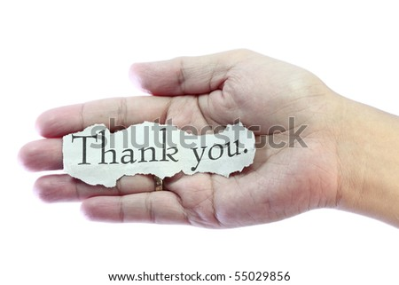 Thank you or thanks concept with hand word and paper. - stock photo