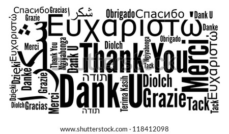 Thank you phrase in different languages. Words cloud concept