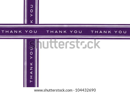 Thank you purple ribbon isolated on white background - stock photo