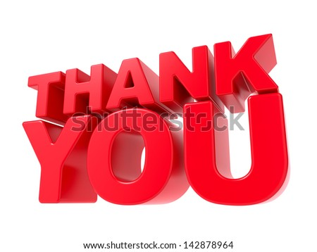 Thank You - Red 3D Text. Isolated on White Background. - stock photo