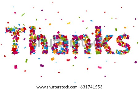 thank you sign colorful confetti stock illustration 631741553