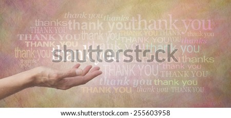 Thank you SO much  -  Female hand outstretched with the word 'thank you' floating above, surrounded by many different colored thank you words on a wide beige colored rustic stone effect background  - stock photo