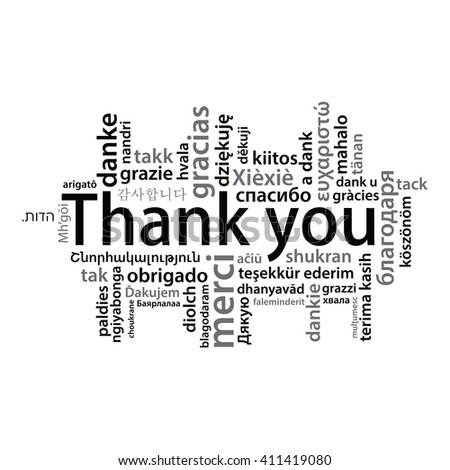 Thank You tag cloud in different languages - stock photo