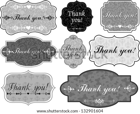 Thank You Tag. Collection of design elements isolated on White background.  illustration - stock photo